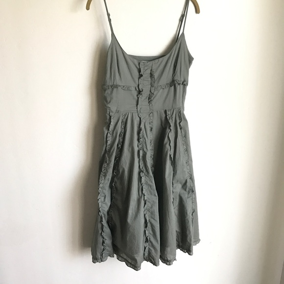 Lauren U. Dresses & Skirts - Lauren U Army Green Boho Dress Ruffles Size M